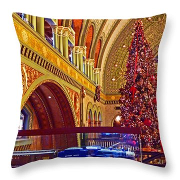 Throw Pillow featuring the photograph Union Station Christmas by William Fields