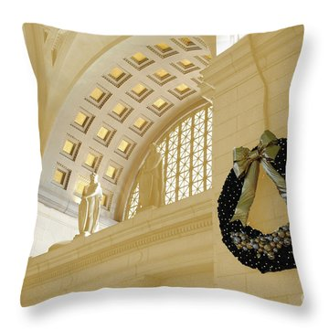 Union Station Holiday Throw Pillow by Jost Houk