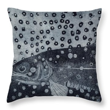 Throw Pillow featuring the painting Unique Etching Artwork - Brown Trout  - Trout Waters - Trout Brook - Engraving by Urft Valley Art