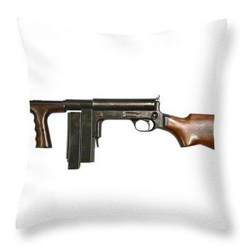 United Defense M42 Submachine Gun Throw Pillow by Andrew Chittock