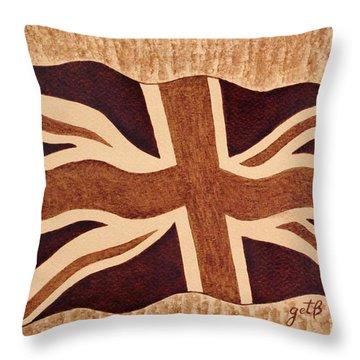 United Kingdom Flag Coffee Painting Throw Pillow by Georgeta  Blanaru