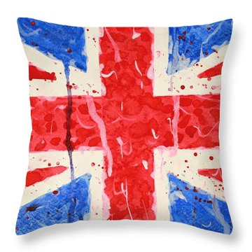 United Kingdom Flag Watercolor Painting Throw Pillow by Georgeta  Blanaru