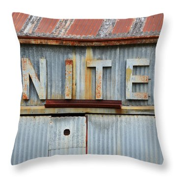United Rusted Metal Sign Throw Pillow