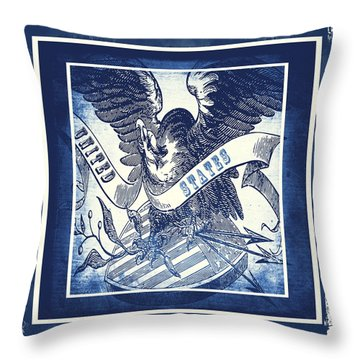 United States Blue Throw Pillow by Angelina Vick
