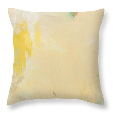 Untitled Abstract - Bisque With Yellow Throw Pillow