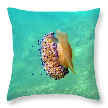 Unwelcome Jellyfish Throw Pillow by Rod Johnson