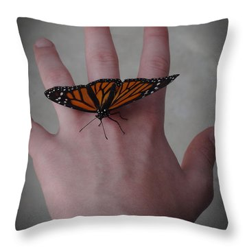 Upon My Hand Throw Pillow