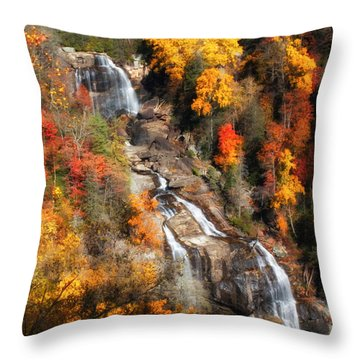 Upper Whitewater Falls Throw Pillow by Lynne Jenkins