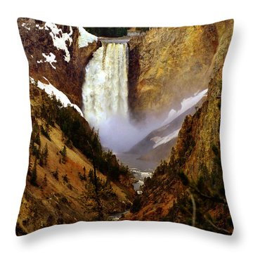 Upper Yellowstone Falls Throw Pillow by Ellen Heaverlo