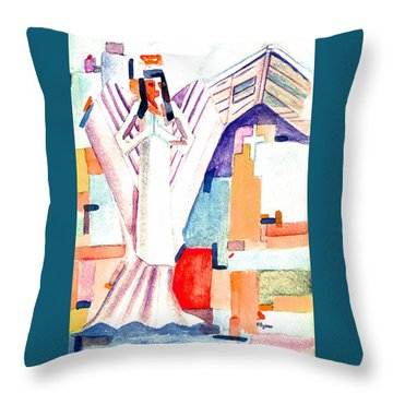Throw Pillow featuring the painting Urban Angel Of Light by Paula Ayers