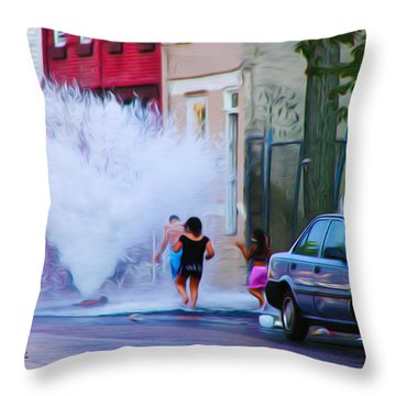 Urban Waterpark Throw Pillow by Bill Cannon