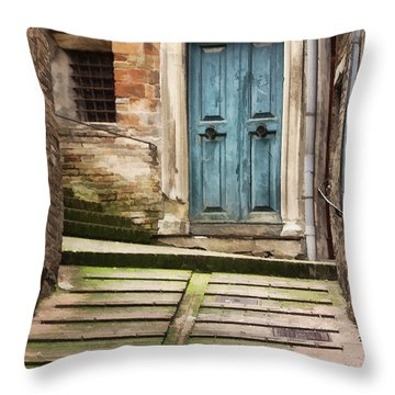 Urbino Door And Stairs Throw Pillow by Sharon Foster