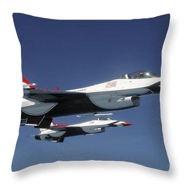 U.s. Air Force F-16 Thunderbirds Throw Pillow by Stocktrek Images