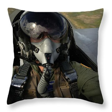 U.s. Air Force Pilot Looking For Nearby Throw Pillow by Stocktrek Images