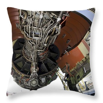 U.s. Air Force Technician Hydraulically Throw Pillow by Stocktrek Images