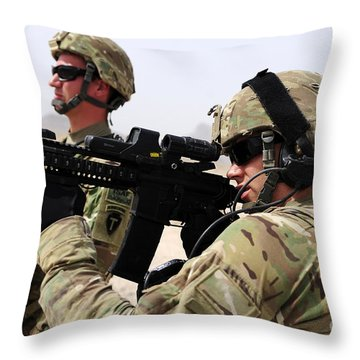 U.s. Army National Guards Pull Security Throw Pillow by Stocktrek Images
