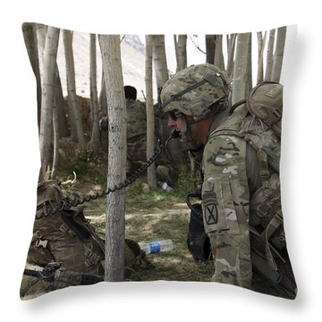 U.s. Army Soldier Communicates Possible Throw Pillow by Stocktrek Images