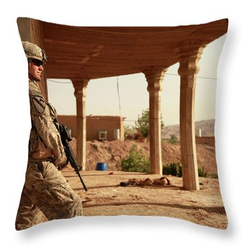 U.s. Army Soldier Pulls Security Throw Pillow by Stocktrek Images