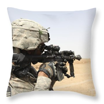 U.s. Army Soldier Scans The Horizon Throw Pillow by Stocktrek Images