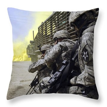 U.s. Army Soldiers Using Smoke Grenades Throw Pillow by Stocktrek Images