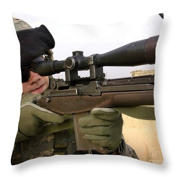 U.s. Army Specialist Provides Overwatch Throw Pillow by Stocktrek Images