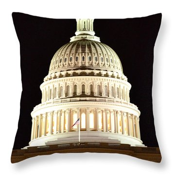 Throw Pillow featuring the photograph Us Capitol At Night by Pravine Chester