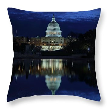 Us Capitol - Pre-dawn Getting Ready Throw Pillow