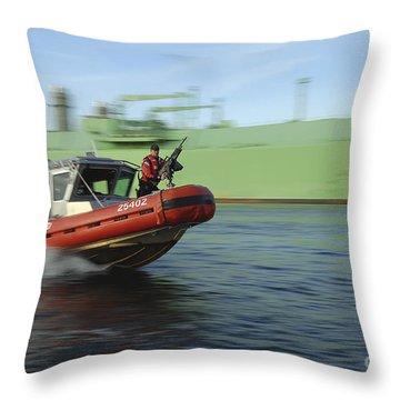 U.s. Coast Guard Officer Mans A M240b Throw Pillow by Stocktrek Images