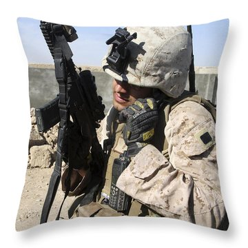U.s. Marine Communicates With Fellow Throw Pillow by Stocktrek Images