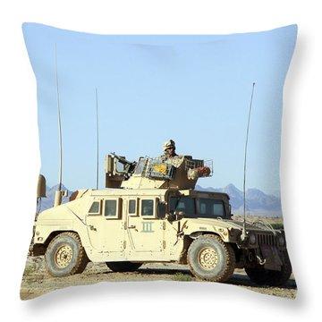 U.s. Marine Standing Ready Throw Pillow by Stocktrek Images