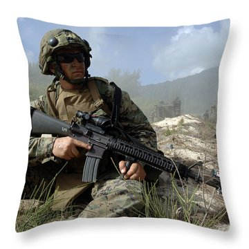 U.s. Marine Takes Part In An Amphibious Throw Pillow by Stocktrek Images