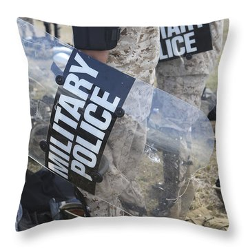 U.s. Marines And Sailors Don Riot Gear Throw Pillow by Stocktrek Images