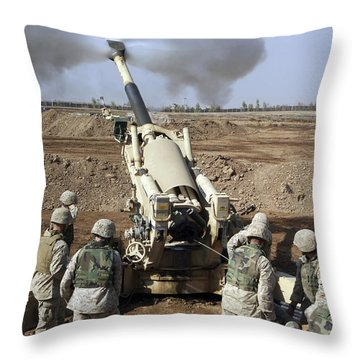U.s. Marines Engage Enemy Targets Throw Pillow by Stocktrek Images