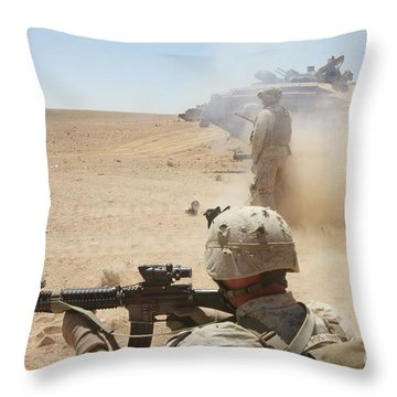 U.s. Marines Fire Several Throw Pillow by Stocktrek Images