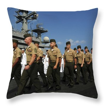 U.s. Marines March In Formation To Move Throw Pillow