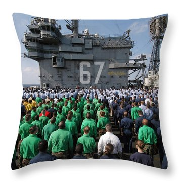 U.s. Navy Sailors Stand At Attention Throw Pillow