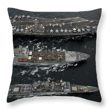 U.s. Navy Ships Conduct A Replenishment Throw Pillow by Stocktrek Images