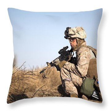U.s. Navy Soldier Participates Throw Pillow by Stocktrek Images