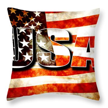 Usa Old Glory Flag Throw Pillow by Phill Petrovic