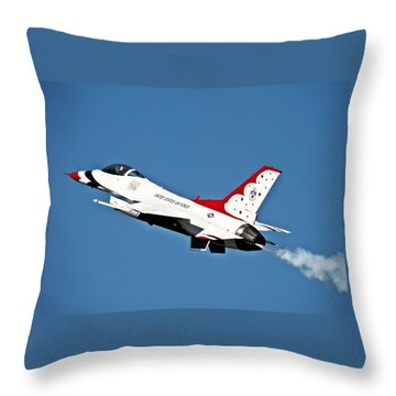 Throw Pillow featuring the photograph Usaf Thunderbird F-16 by Nick Kloepping
