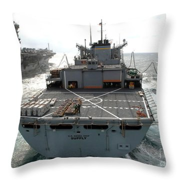 Usns Supply Conducts A Replenishment Throw Pillow by Stocktrek Images