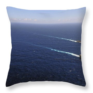 Uss Boxer, Uss Comstock And Uss Green Throw Pillow by Stocktrek Images