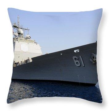 Uss Monterey Arrives Throw Pillow
