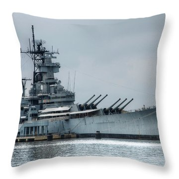 Uss New Jersey Throw Pillow by Jennifer Ancker