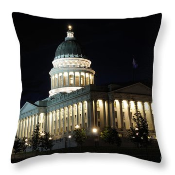 Utah Capitol At Night Throw Pillow by Gary Whitton