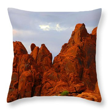 Valley Of Fire - The Landscape Burns Throw Pillow by Christine Till
