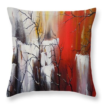 Throw Pillow featuring the painting Valley Of Shadows by Dan Whittemore