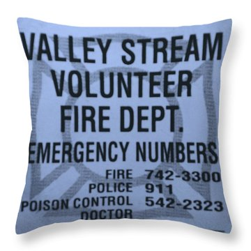 Valley Stream Fire Department In Cyan Throw Pillow by Rob Hans