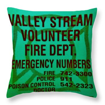 Valley Stream Fire Department In Irish Green Throw Pillow by Rob Hans
