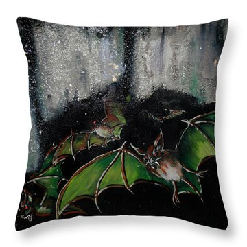 Throw Pillow featuring the painting Vampire Bats  by Nada Meeks